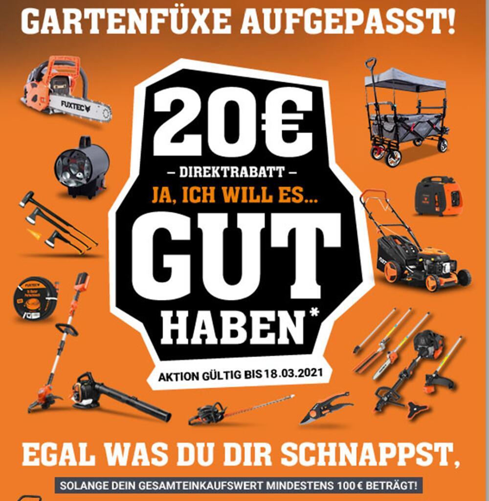 Fuxtec Rabatt 20€ bei 100€ Bestellwert