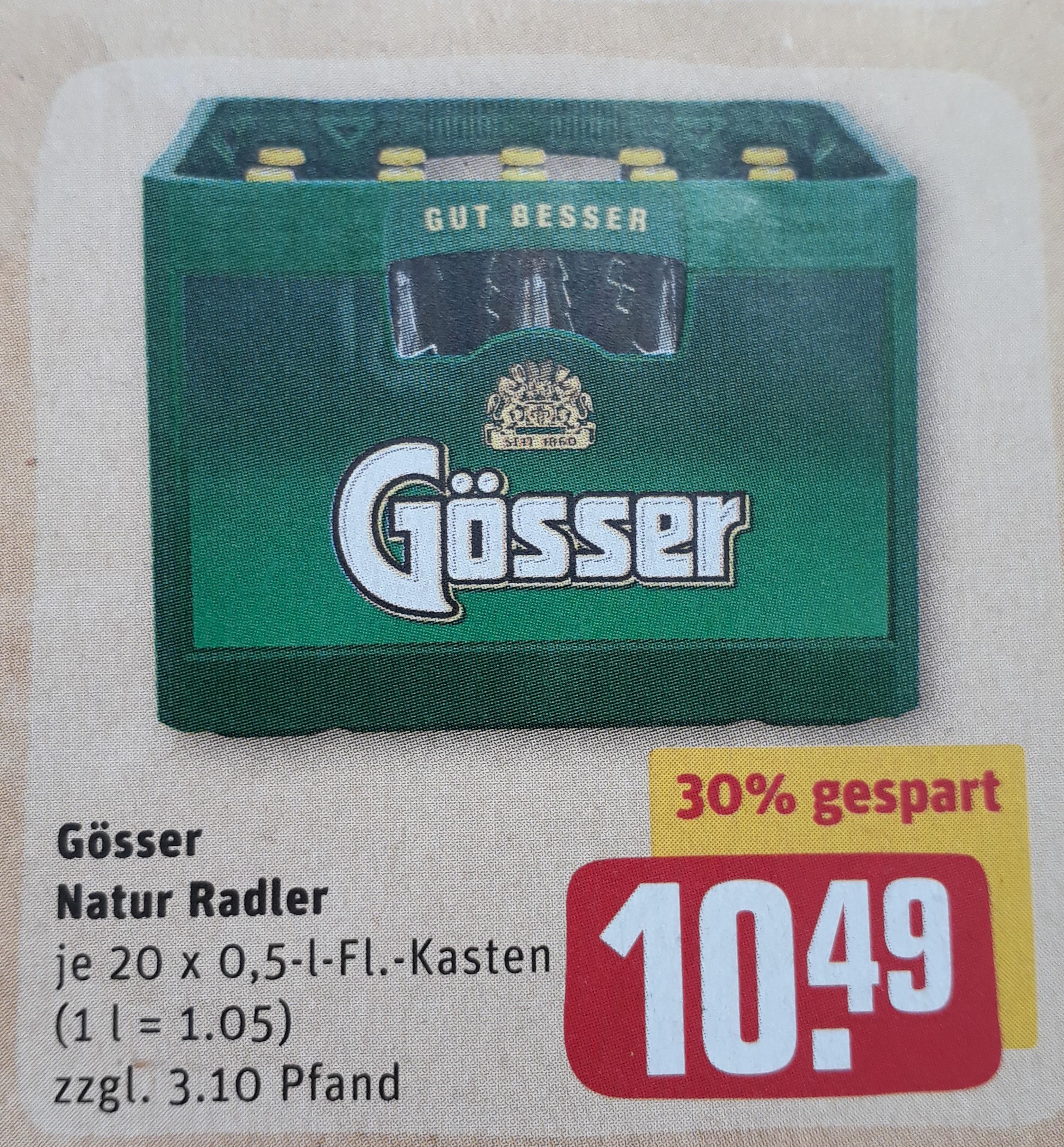 Gösser Naturradler 20 x 0.5l für 10,49 € (+ Pfand) @ Rewe-Center Raum München ab 15.03.