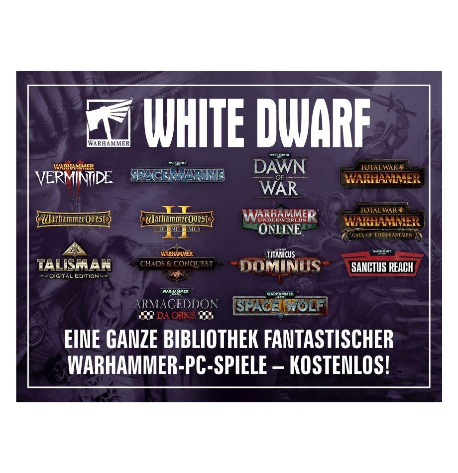 Warhammer Zeitschrift WHITE DWARF 462 mit Steam-Schlüssel für 12 Warhammer-Spiele + 2 DLC als Gratiszugabe