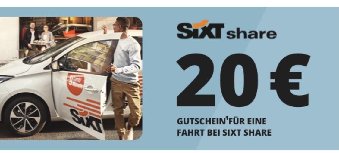 Sixt Share 20 Euro Gutschein für Newsletteranmeldung auch für Bestandskunden