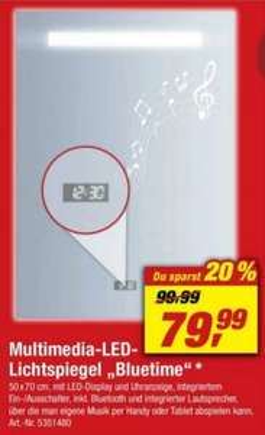 """Multimedia - LED - Lichtspiegel ,,Bluetime"""" 50 cm Breit & 70 cm Hoch & 5,4 cm Tief"""