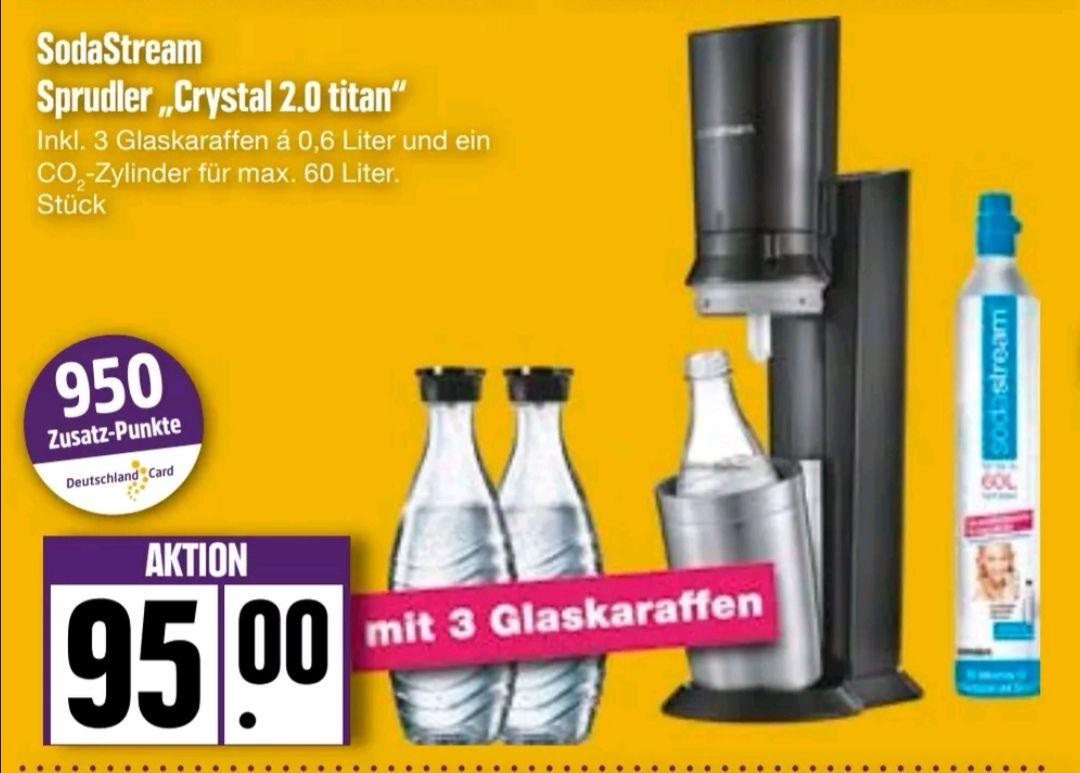 """[Edeka Nord] SodaStream """"Chrystal 2.0 titan"""" inkl. 3 Glaskaraffen & 1 Co-Zylinder bei Edeka Nord nach Abzug aller Rabatte für 76€"""