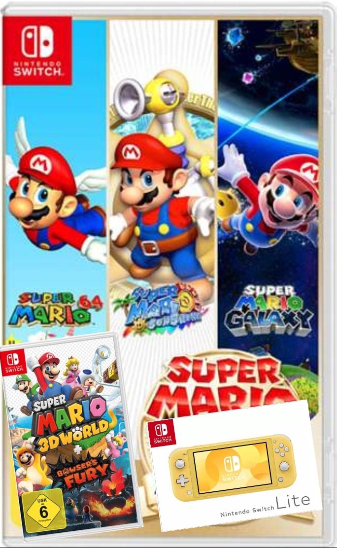 Super Mario 3D World + Bowser's Fury oder Super Mario 3D All-Stars für je 39,99€ / Nintendo Switch Lite gelb für 169,99€ / 2 weitere Spiele