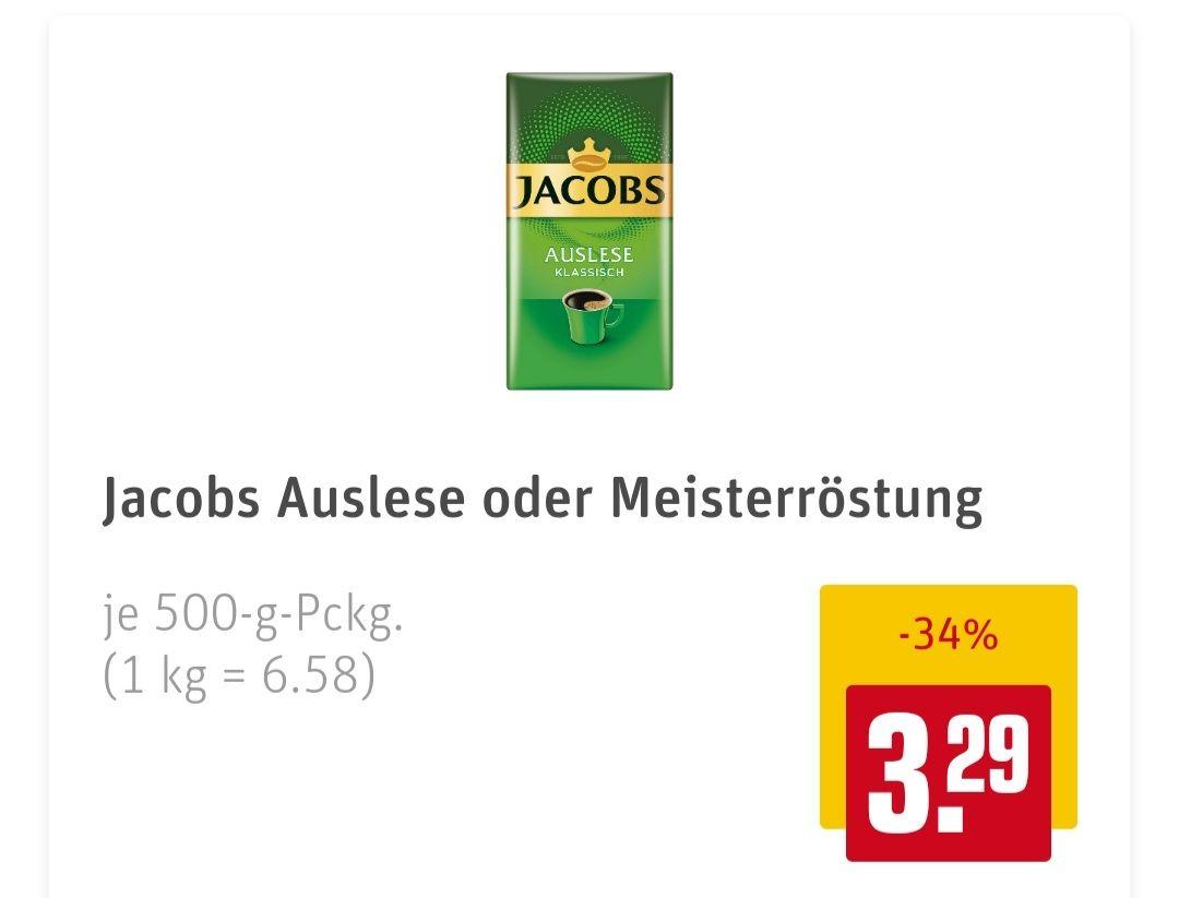 Jacobs Auslese oder Meisterröstung 500 g Packung gemahlen und Jakobs Expertenröstung ganze Bohnen 1000 g Packung