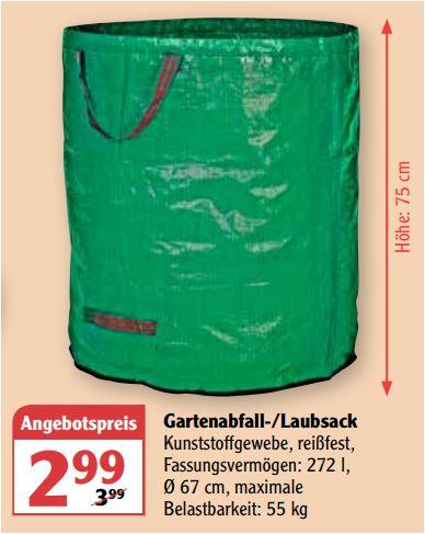 Gartenabfallsack 272 Liter aus reißfestem Kunststoffgewebe mit Tragschlaufen für 2,99 Euro [Globus SB Warenhaus]