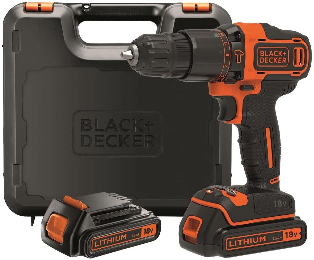 Black + Decker Akku-Schlagbohrschrauber Schlagbohrmaschine BDCHD18KB-QW mit 2 Akkus im Koffer 40nm