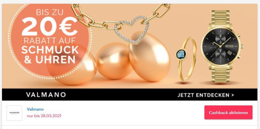 [ Shoop | Valmano ] 14% Cashback + Bis zu 20€ Rabatt auf funkelnde Uhren und Schmuck oder 24€ Gutschein mit 199€ MBW