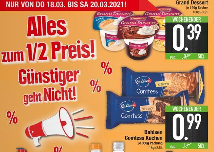 [Edeka Südbayern] Bahlsen Comtess Kuchen 350g zum 1/2 Preis.