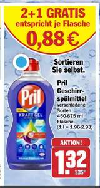 10x Pril Spülmittel in versch. Sorten 450-650ml für 4,24€ [Hit]
