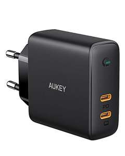 [Amazon Prime] Aukey USB-C Ladegerät ( 60W PD 3.0, 2 x USB-C, GaNFast Tech & Dynamic Detect, 60W Gesamtleistung 45W bei 2 Anschlüssen)