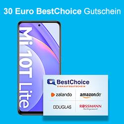 Xiaomi Mi 10t lite (128Gb) im Blau Allnet XL 7 GB, Telefon & SMS Flat mtl. 14,99€, einmalig 1€ +30€ Best Choice Gutschein