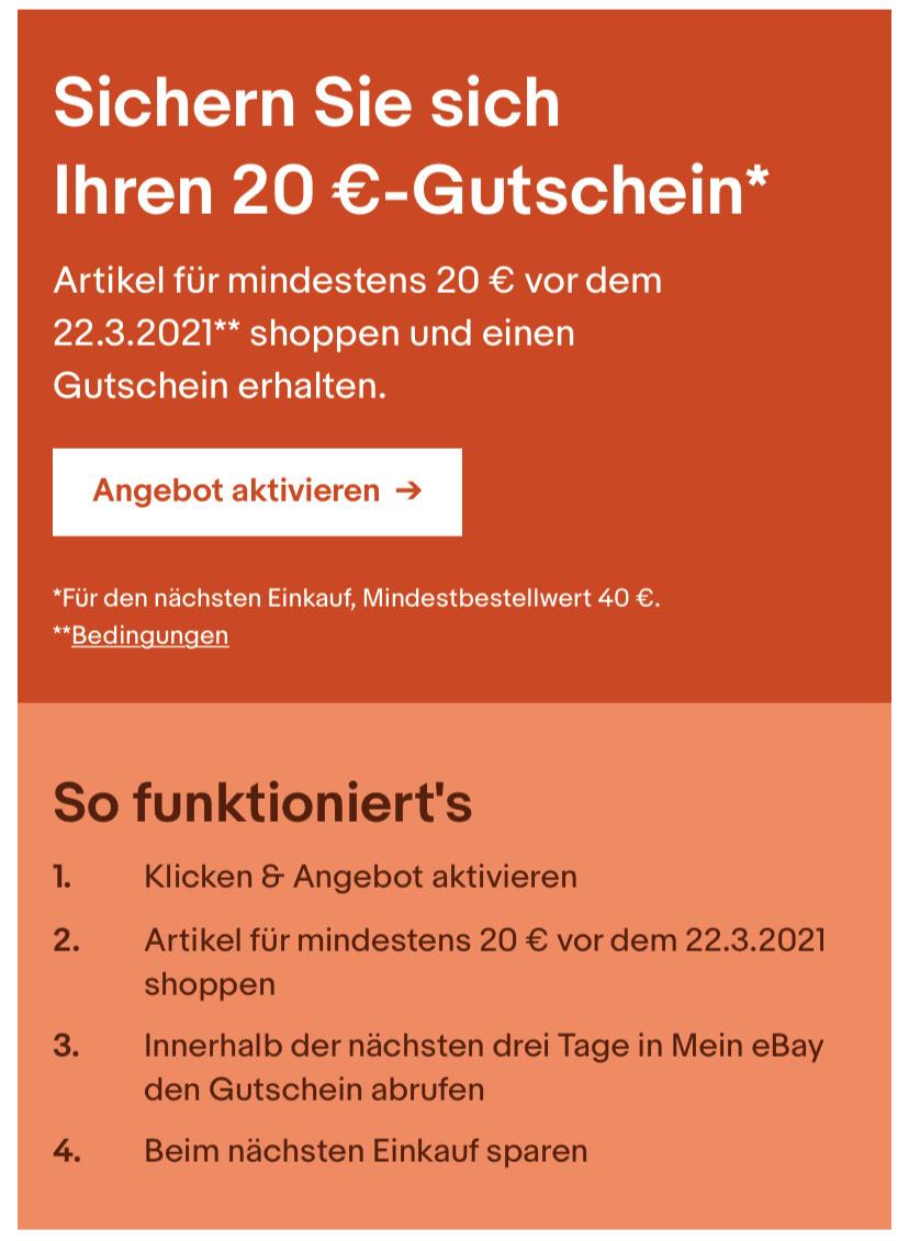 eBay 20 €-Gutschein (eingeladenen Nutzer)