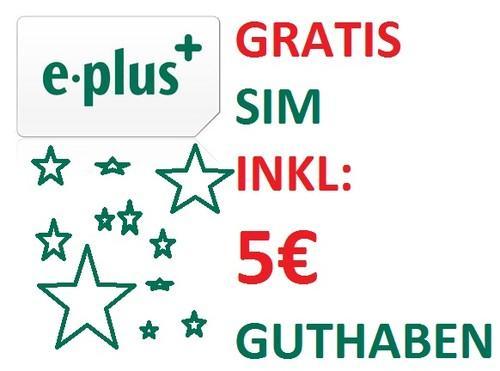 Eplus Prepaidkarten mit 5€ Guthaben Kostenlos