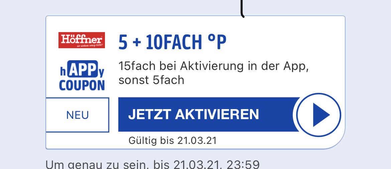 15 Fach Paybackpunkte bei Höffner entspricht 7,5% Rabatt