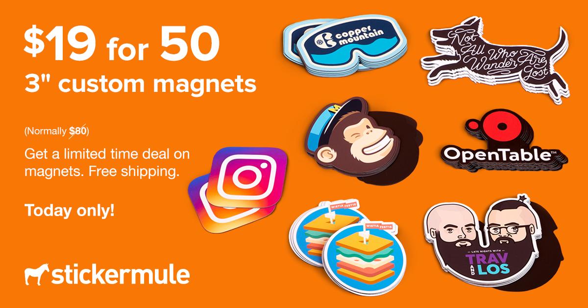 [StickerMule] 50 Magnete mit eigenem Design - 76 mm x 76 mm