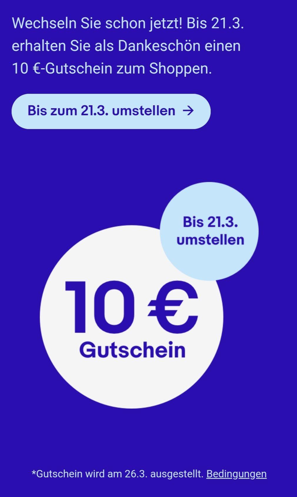 eBay bis 21.3. umstellen & 10 €-Gutschein sichern für eingeladene Verkäufer