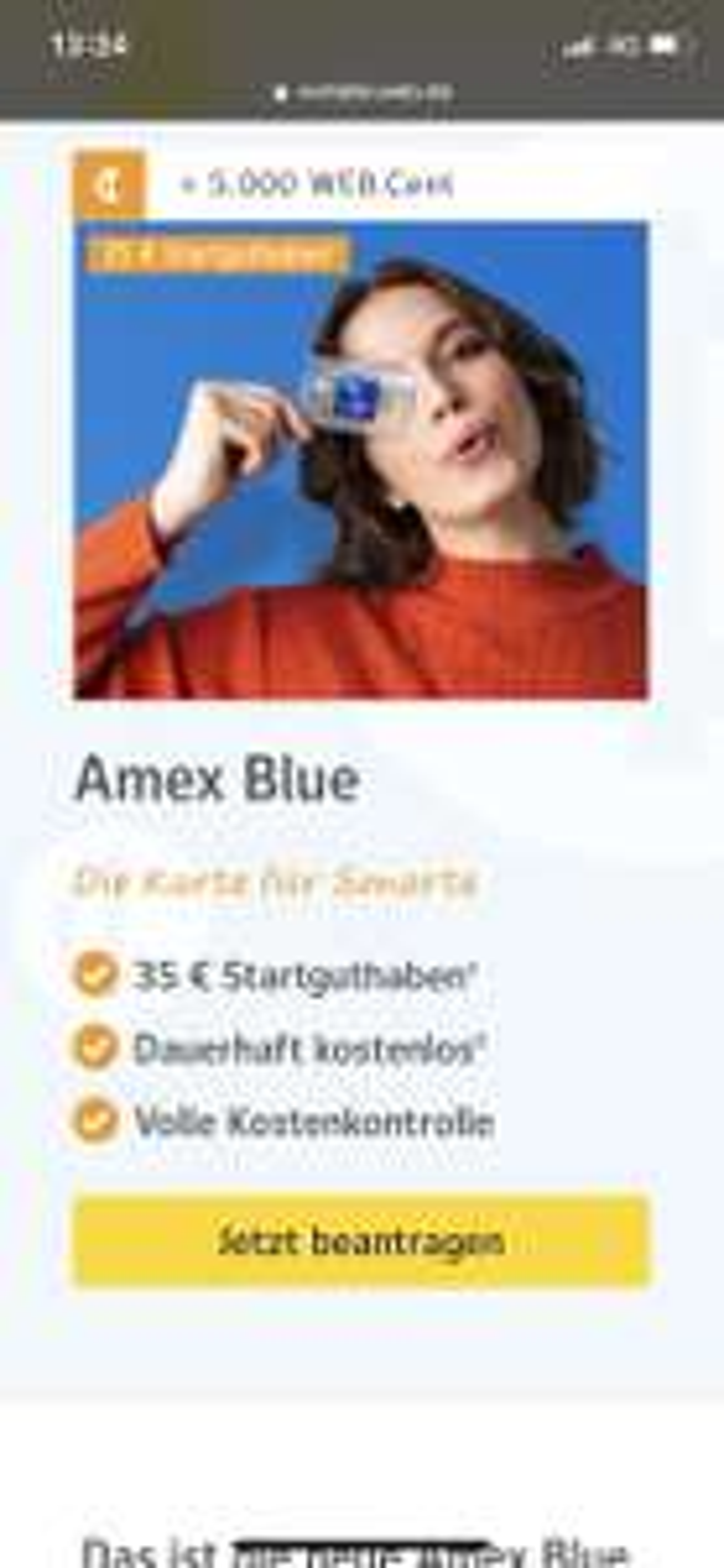 Amex Blue Card mit 35,- Startguthaben und 5000 WEB.Cent