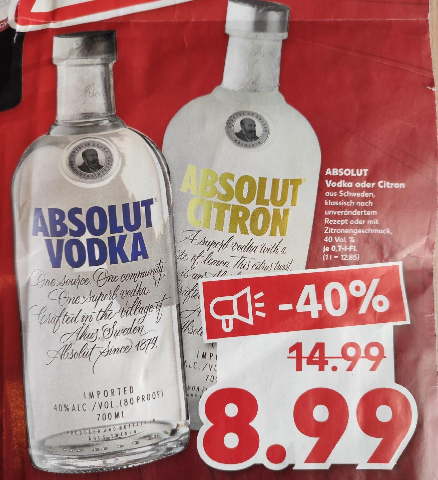 (Kaufland AC ehem. Real) Die Ofenfrische 1,49€ Absolut Vodka 8,99€ usw