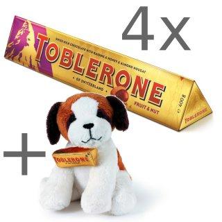 """Scandinavianpark onlineshop: 4 x 360 Gramm Toblerone ( in vielen Sorten verfügbar) dazu gratis """" Bernie """" Plüschhund(7.99€ Wert)"""