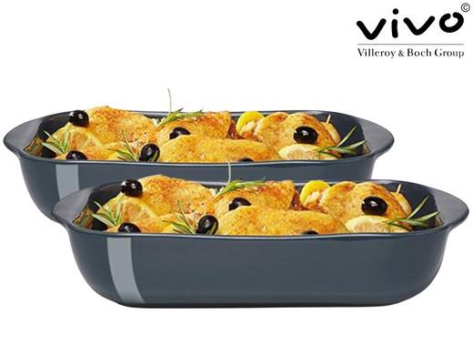 2x Vivo by Villeroy & Boch Auflaufform aus Steingut (2.5 Liter, 35 x 22 x 7 cm, Spülmaschinenfest) [iBOOD]