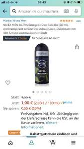 Amazon Prime: Nivea Men Ultra Energetic Deo Roll On