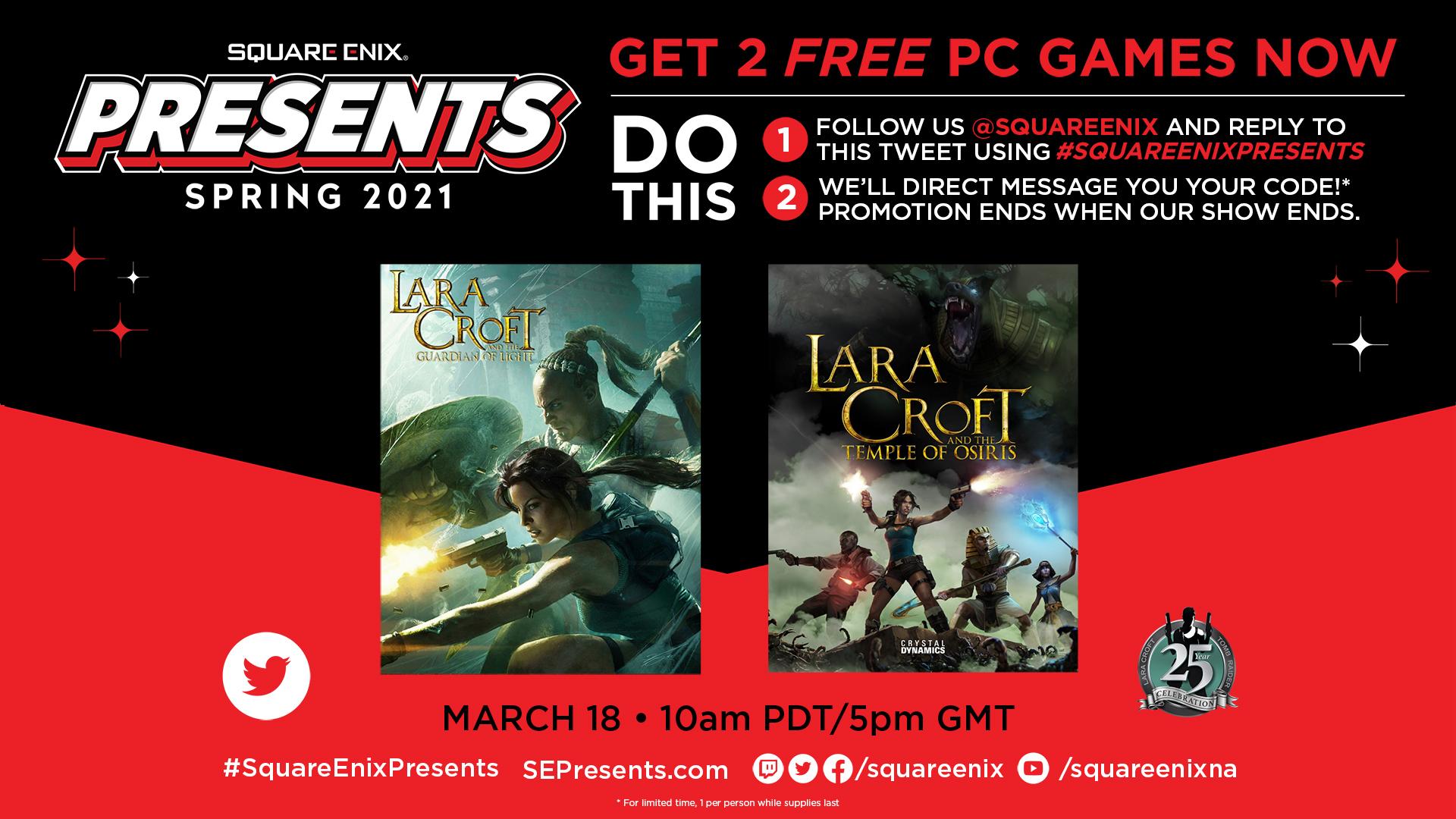 Lara Croft and the Guardian of Light + Lara Croft and the Temple of Osiris kostenlos für Antwort & Follow auf Twitter [Steam]