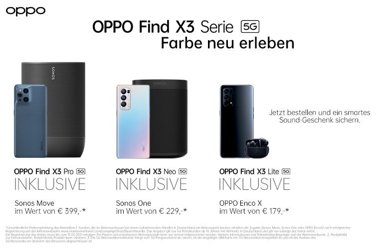 [Oppo Promotion] Sonos Move zum Oppo Find X3 Pro (im 2GB SimplyTel 967,74€) | Sonos One zum X3 Neo | Kopfhörer Enco X zum X3 Lite