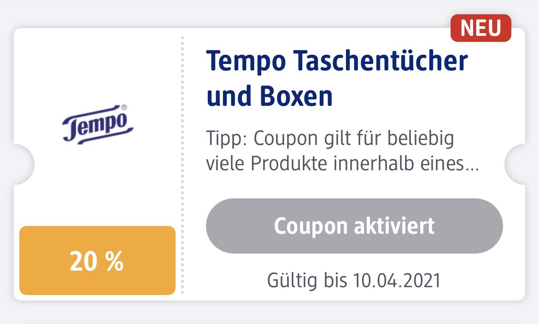 dm - 20% auf Tempo Taschentücher und Boxen (in der App)