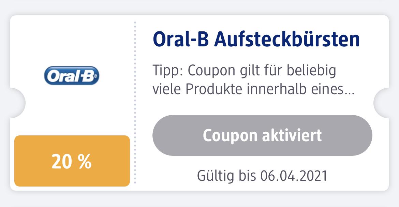 dm - 20% auf Oral-B Aufsteckbürsten (in der App)