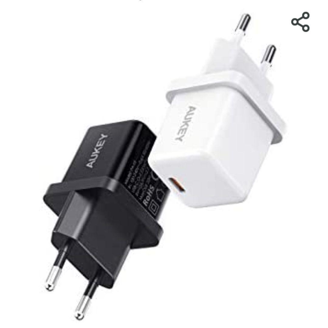 [Amazon Prime] Doppelpack AUKEY USB C Ladegerät (20W, Schnellladegerät mit Power Delivery 3.0 für z. B. IPhone 12 von Apple)