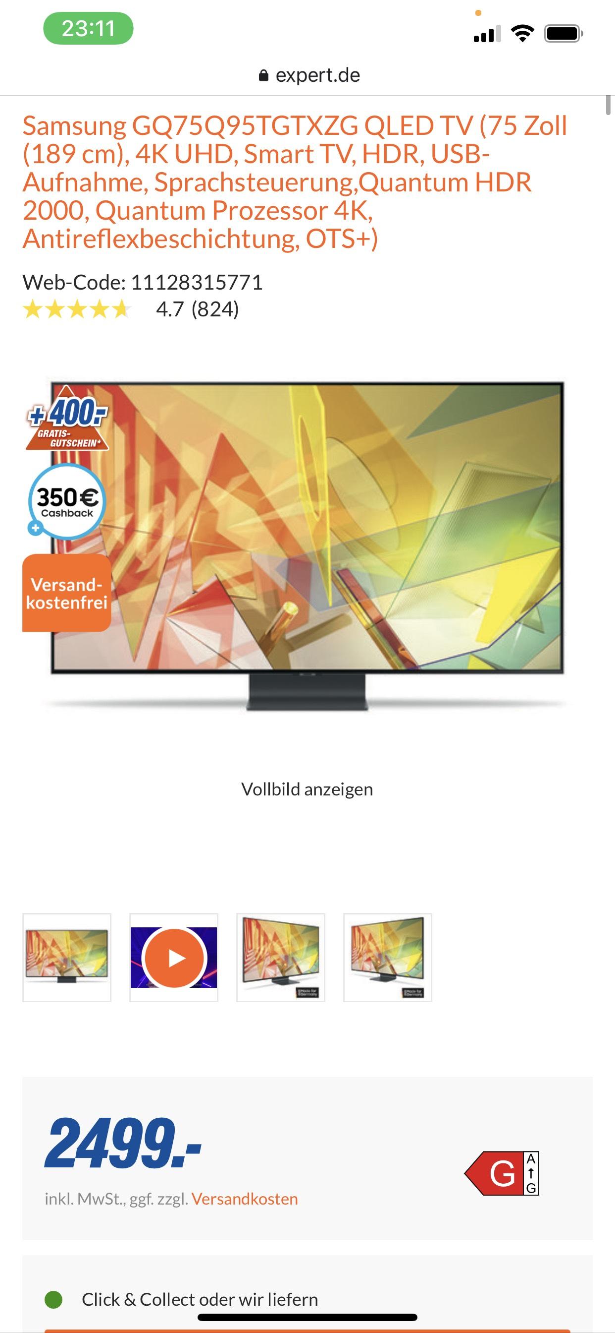 Samsung GQ75Q95TGTXZG für effektiv 1700€ (durch CB, 2% Shoop und Gutschein)