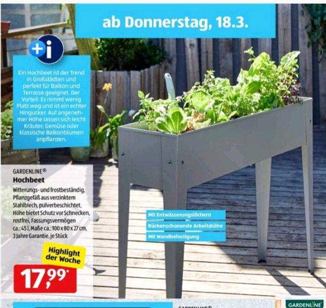 [Offline] Aldi Süd - Hochbeet verzinkt Stahlblech 100x80x27cm - 3 Jahre Herstellergarantie