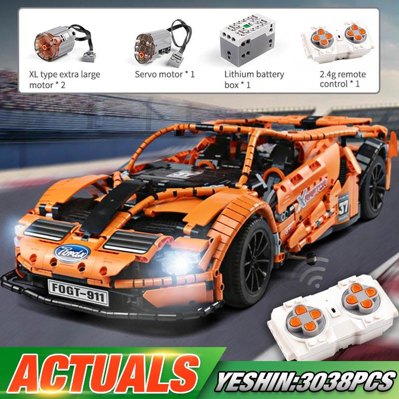 GT Sports Car static oder motorisiert / RC (3 Motoren + LED) Klemmbaustein-Set - Versand aus EU - 3038 Klemmbausteine - RC für 84,84 EUR