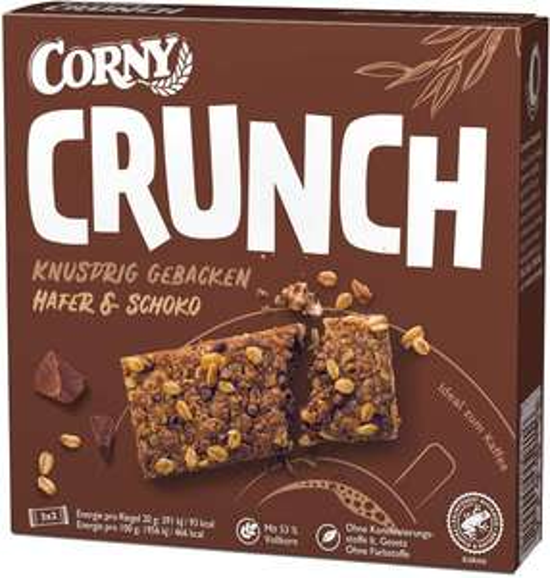 [Prime Sparabo] Corny Tages Angebot, z.B. Corny Crunch Hafer & Schoko, 9 Schachtel mit je 6 Riegeln/120g, (0,90€ pro Packung)