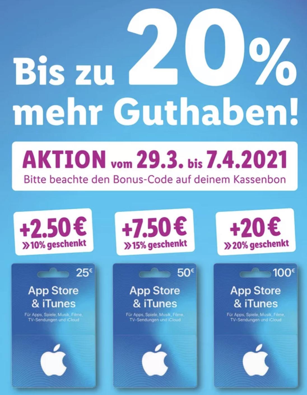 Lidl: Bis zu 20% zusätzliches Guthaben für iTunes & App Store Geschenkkarten (25€, 50€ u. 100€) - ab 29.03.