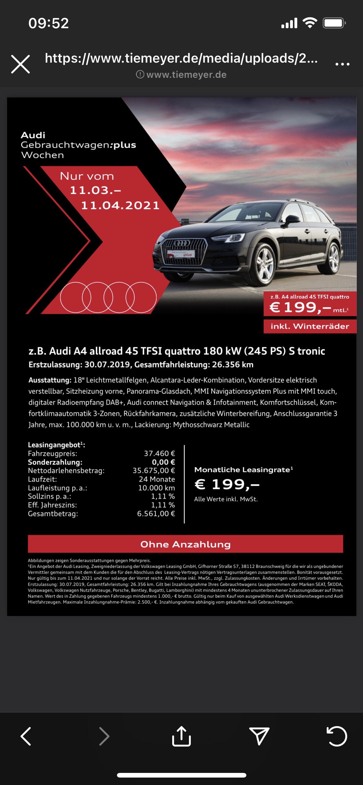 Audi A4 Leasing privat 199€