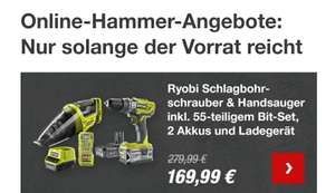 Toom Baumarkt Ryobi Schlagbohrschrauber und Handsauger R18PD3-242VTA55 inkl. 55-teiligem Bit-Set, 2 Akkus und Ladegerät am 21.03