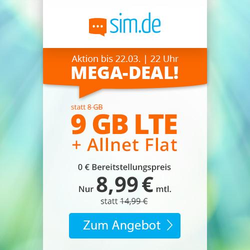 sim.de Aktionstarife: 9GB LTE (mtl. 8,99€) + VoLTE & WLAN Call, etc. (3 Monate / 24 Monate; Telefonica-Netz)