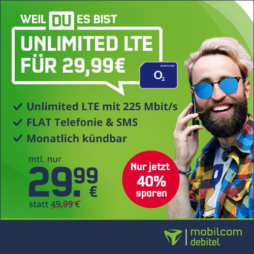 [mtl. kündbar] mobilcom-debitel o2 Free Unlimited Max (225 Mbit/s) unbegrenzt Datenvolumen mtl. 29,99€ + 9,99€ AG + 4 Monate Deezer Premium