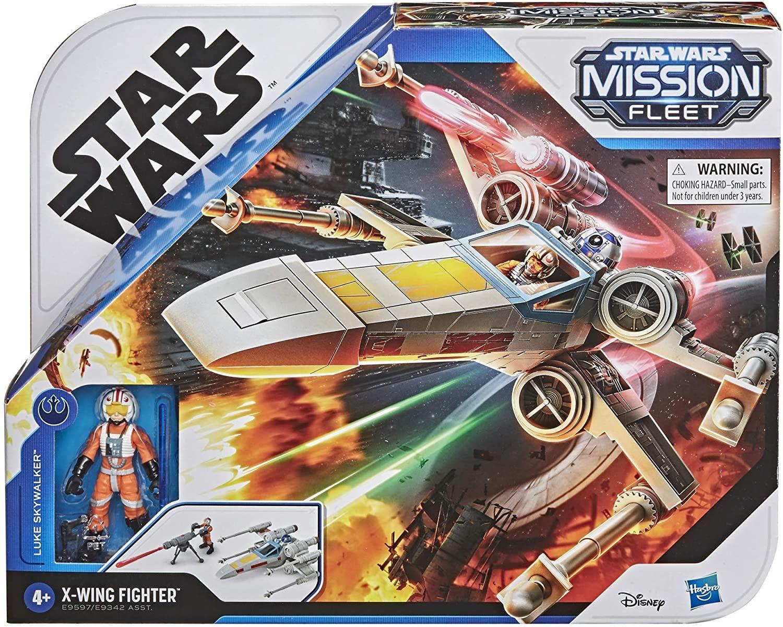 Hasbro E9597 Wars Mission Fleet Stellar Class Luke Skywalker X-Wing Fighter 6 cm große Figur und Fahrzeug, Spielzeug für Kids ab 4 Jahren