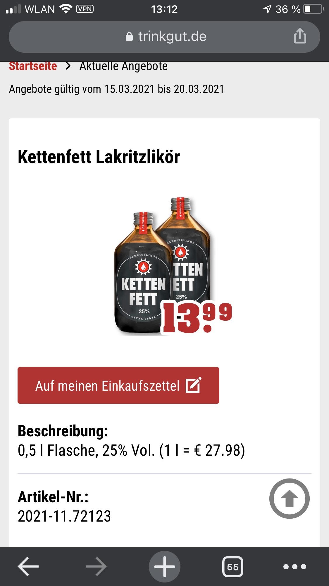 Kettenfett (Lakritzlikör) für 13.99€ bei trinkgut
