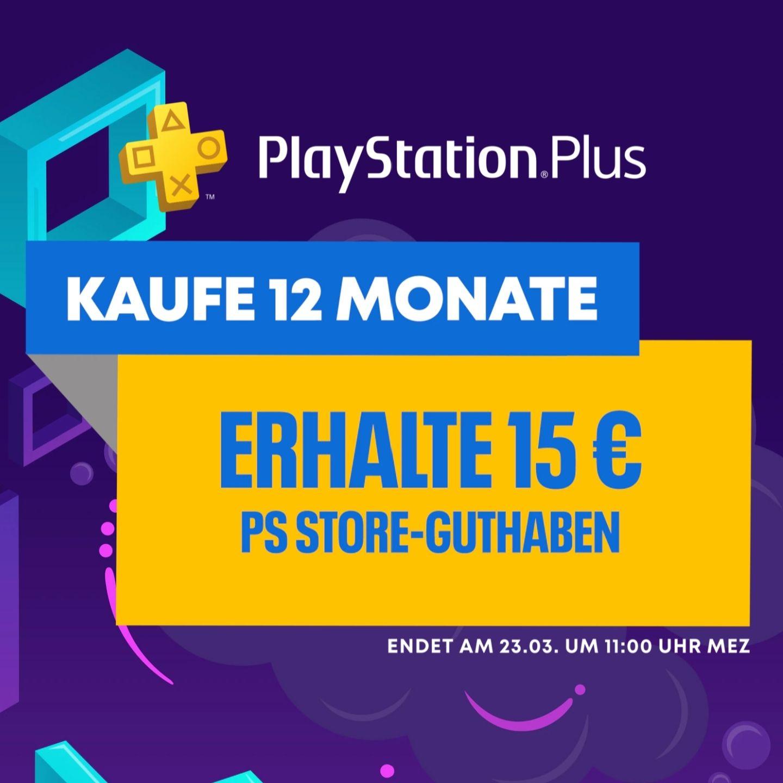 Playstation Plus - 12 Monate kaufen und 15€ Guthaben zusätzlich erhalten (ohne aktives Abo)