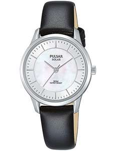 Pulsar Solar Damen-Uhr Edelstahl mit Lederband PY5043X1