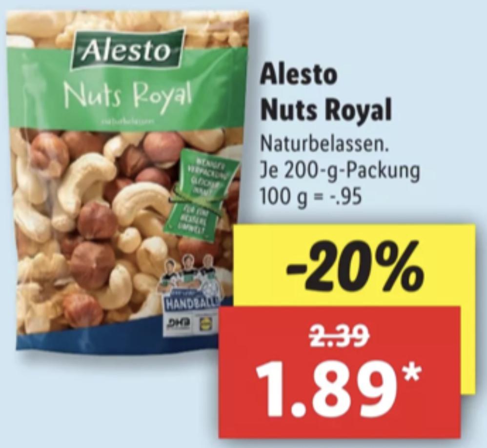 Alesto Nuts Royal Nussmischung naturbelassen 200g für 1,89€ / funny-frisch Chipsfrisch 175g für 0,85€ / Norwegisches Lachsfilet je kg 10,99€