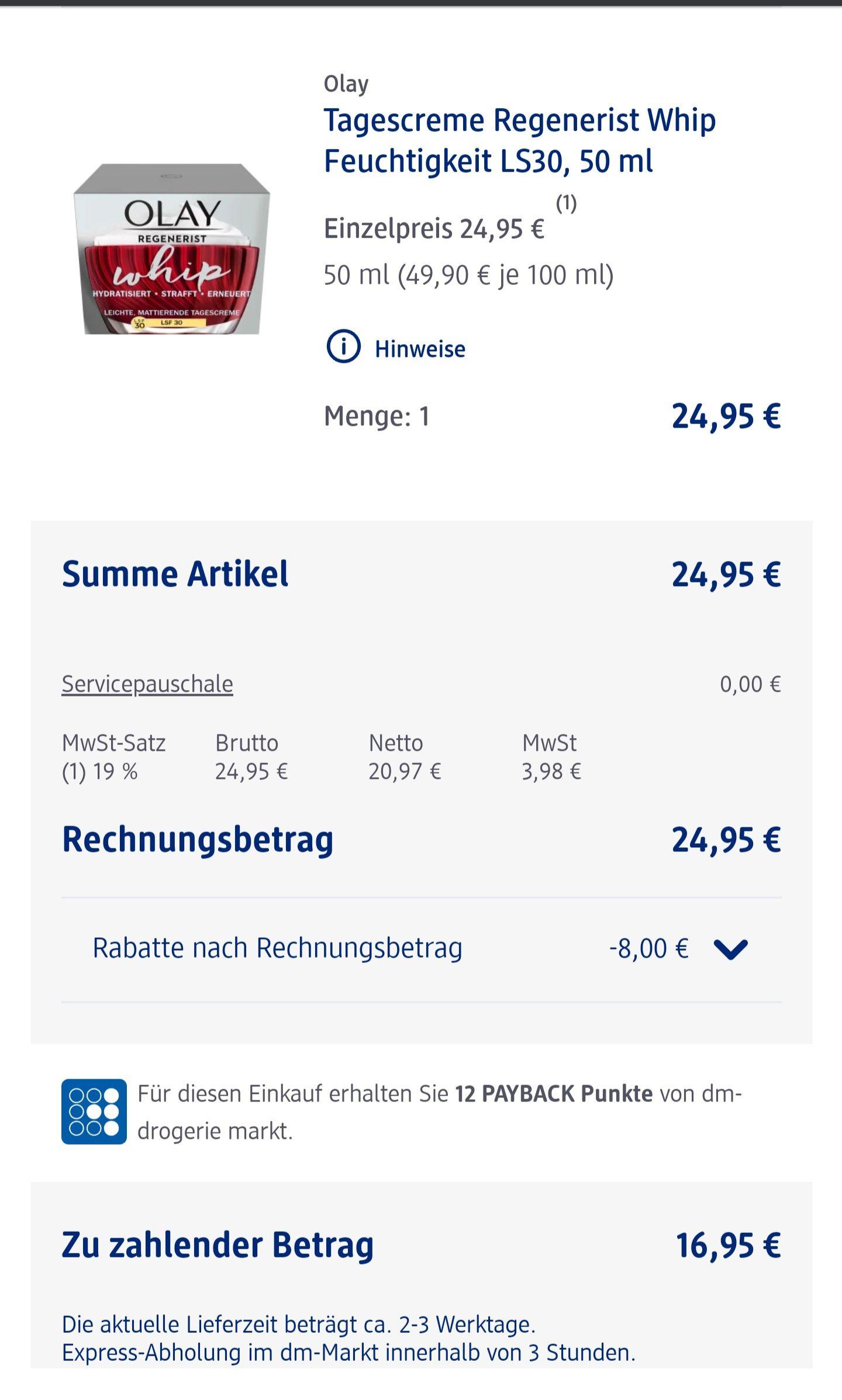 Olay (früher Olaz) Regenerist Whip Creme 8 Euro Rabatt bei DM