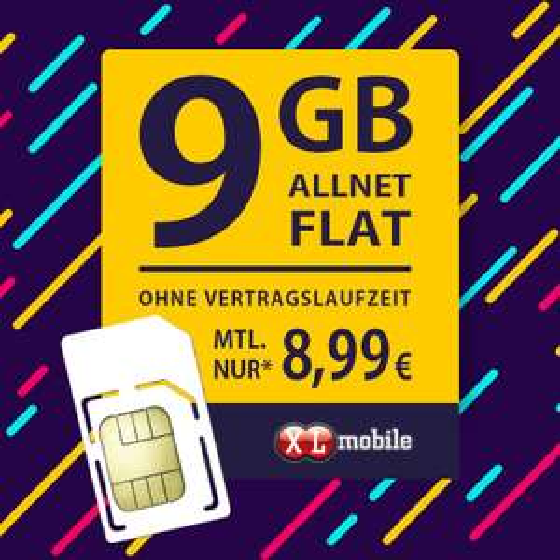 [XLmobile] 9 GB Allnet Flat ohne Vertragslaufzeit nur 8,99 € monatlich