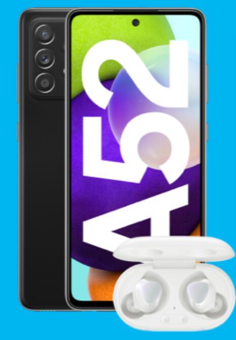 Samsung Galaxy A52 128GB alle Farben + Galaxy Buds+ im Blau Allnet L 5GB LTE für 19,99€ mtl., 1€ einmalig; +35€ Shoop Cashback