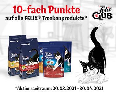 [Felix Club] 10-fach Punkte auf FELIX Trockenfutter - Katzenfutter effektiv gratis