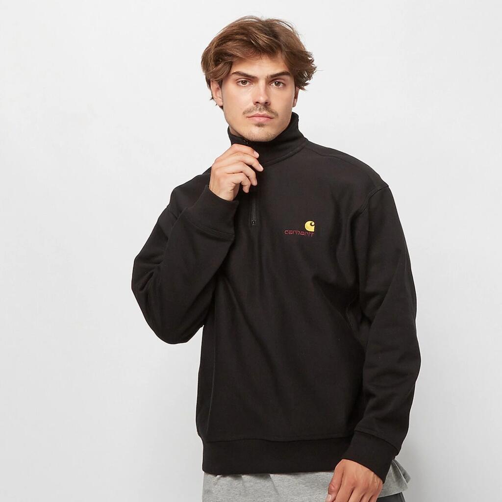 Carhartt Herren Half Zip American Script Sweatshirt in Schwarz - Gr. S - XXL