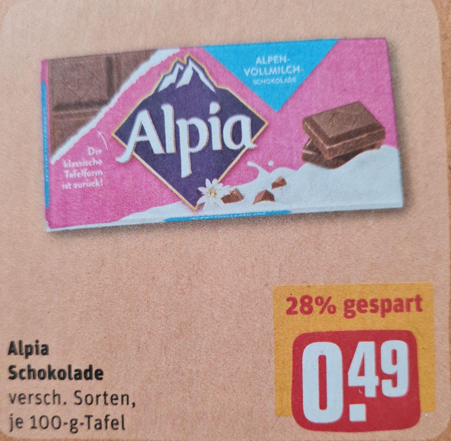 Alpia Schokolade verschiedene Sorten je 100 g Tafel und Hennessy VS Cognac 40% 0,7 l im Rewe ab 22.03